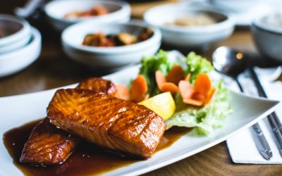 Fried salmon with sweet soy sauce in a Korean restaurant