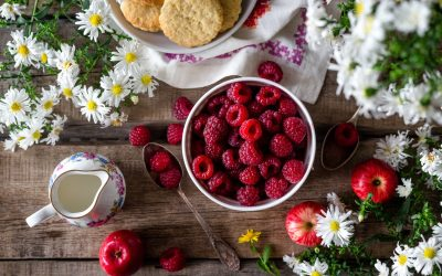 Breakfast table with red raspberries and fresh fruit