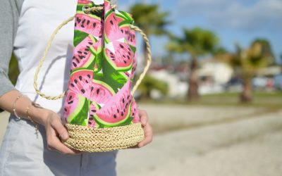 Pink and green water melon-printed bag