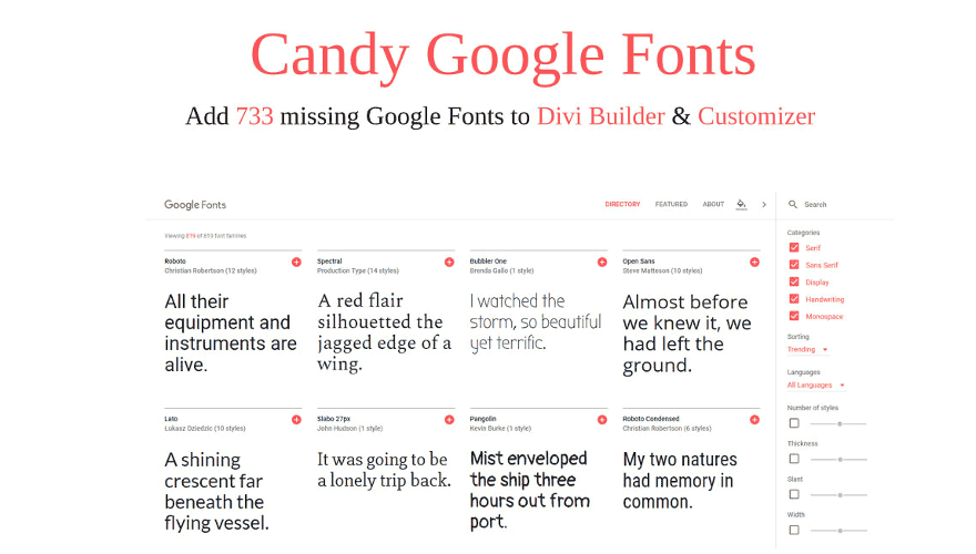 Add all missing Google Fonts to the Divi Customizer and