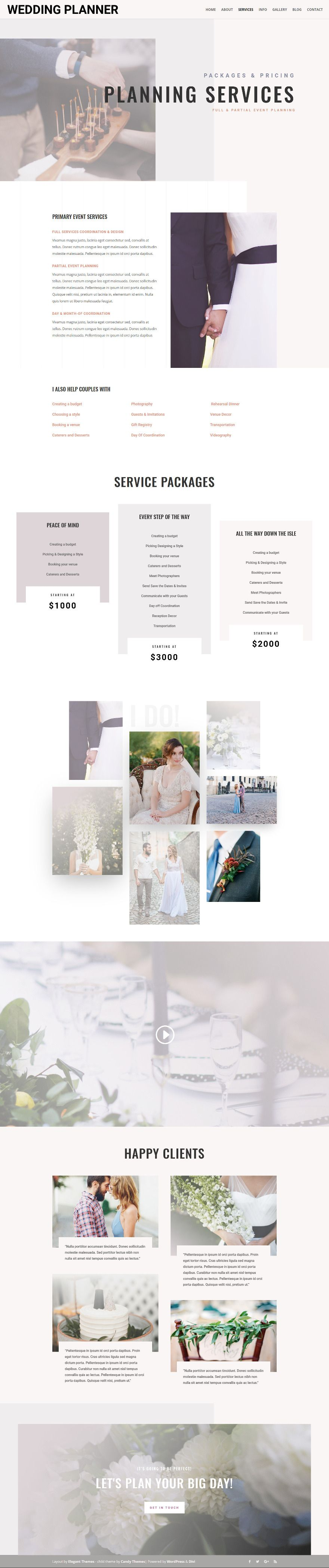 Wedding Planner Divi child theme allows you to create an elegant ...