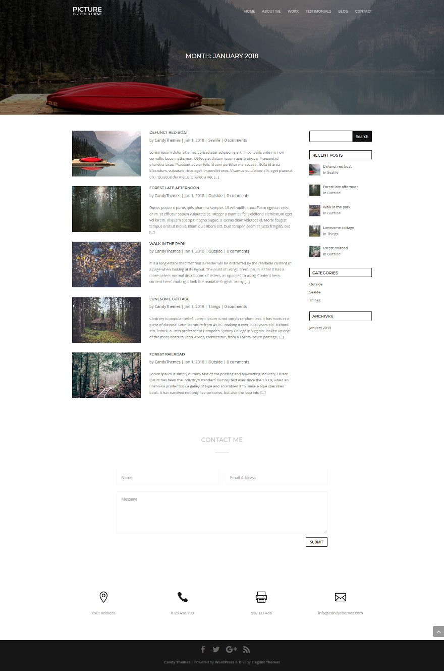 Picture a FREE Divi child theme | Candy Themes
