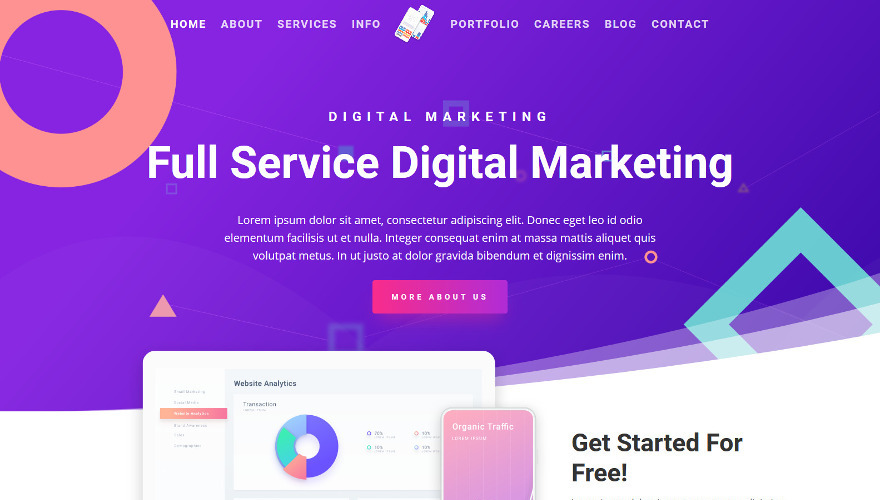 Digital Marketing Divi Child Theme is perfect for sharing readable and clear content without having to sacrifice beautiful web design