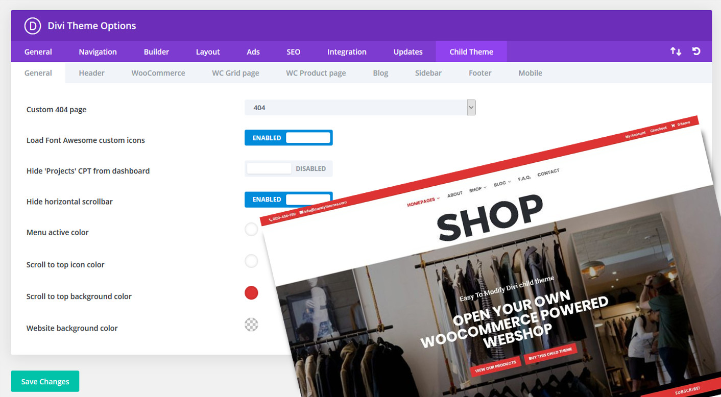 Custom child theme options panel added to our most popular WooCommerce enabled Divi child theme CT-SHOP